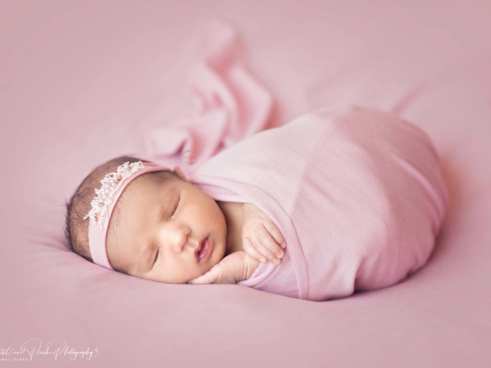 Newborn girl photoshoot pink
